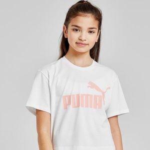 NWT PUMA White/Pink Logo Pink Print T-Shirt Top S7